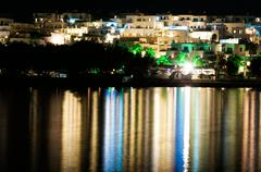 Night view of naussa, paros - greek island in the aegean sea, one of the Stock Photos