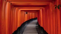 Fushimi Inari Shrine's fame torii gates Stock Footage