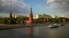 View from the Bolshoy Kamenny bridge to the Moscow Kremlin. Time lapse. - stock footage