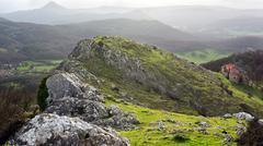 Stock Photo of sanctuary of virgen de oro, in alava, basque country, surrounding with mounta
