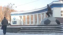 The Dynamo stadium named after Valeriy Lobanovsky.Winter. Stock Footage