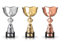 champion trophies isolated on white background - stock photo