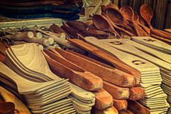group of wood objects, traditional romanian - stock photo