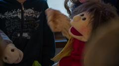 Ecstatic plush puppet  - stock footage