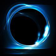 Blue fractal circle Stock Illustration