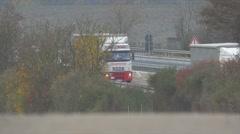 traffic on german autobahn, cars and trucks - stock footage