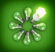 idea concept with circle of light bulbs and glowing eco bulb - stock photo
