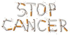 Text ''stop cancer'' made from broken cigarettes Stock Photos