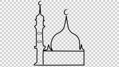 mosque animation with transparent background - stock footage