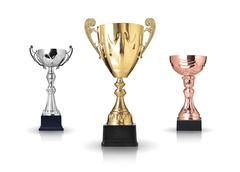 three different kind of trophies. isolated on white background - stock photo