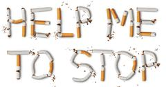 text ''help me to stop'' made from broken cigarettes - stock photo