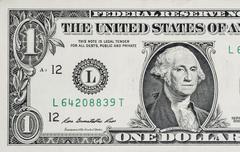Macro shot of one dollar bill Stock Photos