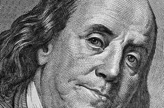 Benjamin franklin's portrait on one hundred dollar bill. Stock Photos