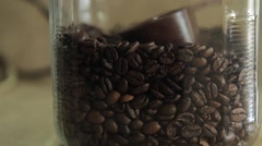 Coffee container full of coffee beans Stock Footage