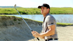 Caucasian Male Golfer Play Physical Golf Resort Global Success Target Bunker - stock footage