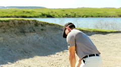Professional Male Caucasian Sand Bunker Golf Commercial Sponsor Wealth Leisure Stock Footage