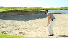 Career Golf Player Male Caucasian Bunker Practice Club Sponsorship Stock Footage