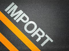 Import text writing road asphalt Stock Illustration