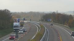 Traffic on german autobahn, cars and trucks Stock Footage