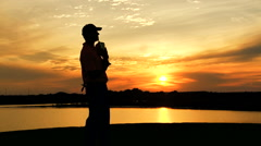 Sunset Golfer Caucasian Male Golf Sport Ceremony Competition Success Trophy Win Stock Footage