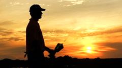 Career Golf Male Player Silhouette Tour Award Winner Trophy Club Sponsorship Stock Footage