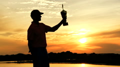 Caucasian Golfer Sunset Triumph Play Championship Development Success Trophy Stock Footage