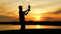 Professional Male Caucasian Winner Golf Sunset Commercial Sponsorship Wealth Stock Footage