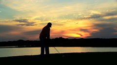 Outdoor Lifestyle Activity Golf Playing Male Caucasian Vacation Sunset Stock Footage