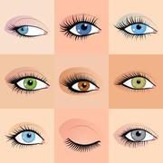 Set of female eyes images with beautifully fashion make up. Vector - stock illustration