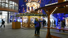 Christmas decorations and lights in front of arkaden shopping centre berlin Stock Footage