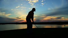 Healthy Outdoor Fitness Male Caucasian Golf Player Outdoors Sunset Silhouette Stock Footage