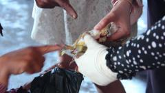 CRAB FISHING & SELLING - Offering crabs for sale, medium and CU Stock Footage