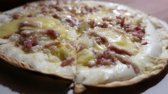 Steaming hot flammkuchen pizza Stock Footage