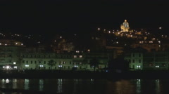 Beautiful San Remo cityscape night water reflection Sanremo resort church build Stock Footage