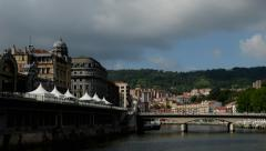 Bilbao. Bridge. Puente del Abando - stock footage