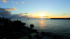 Time Lapse Vacation Resort Tourist Destination Ocean Shoreline Sunset - stock footage