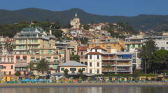 Timelapse San Remo beach resort people relax summer holiday Sanremo have fun day Stock Footage
