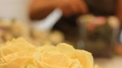 Rose bouquet flower arrangement Stock Footage