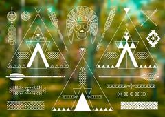 Collection of Native American tribal stylized elements for design. - stock illustration
