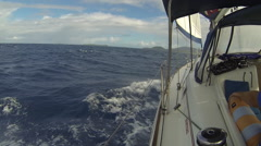 Sailboat under wind on the Caribbean sea Stock Footage