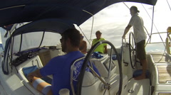 Sailboat being steered by the Captain on the Caribbean sea Stock Footage