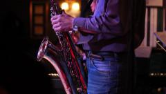 Male plays saxophone Stock Footage