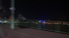 Driving across cologne bridge with view of the cathedral dom Stock Footage