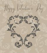 Stock Illustration of valentine heart of laurel leaves