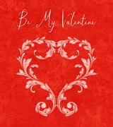 valentine heart of laurel leaves - stock illustration
