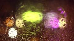 Rain and Street lights in LA - 50mm lens - BOKEH - stock footage