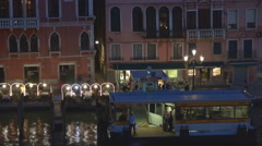 Timelapse aerial view boat cruise station tourist people wait Venice commuter  Stock Footage
