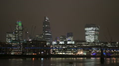 Timelapse of the City of London skyline at night Stock Footage