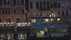 Stock Video Footage of Aerial view Venice public transportation people travel boat station night ship