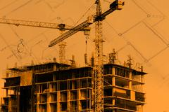 Construction site with cranes on blue sky background Stock Illustration
